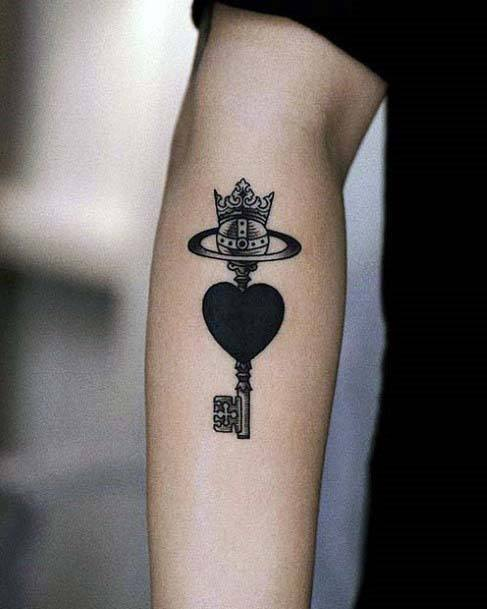 Crown Key With Black Heart Tattoo Womens Arms