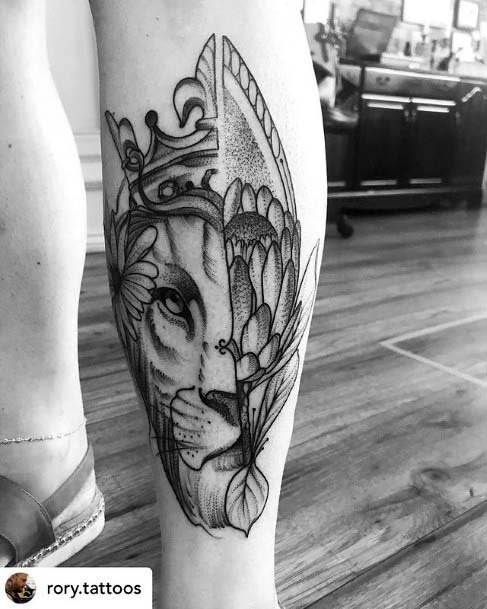 Crown Tattoo Of Jungle King Womens Legs
