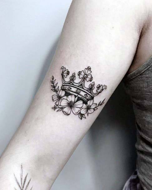 Crown With Gems And Flowers Tattoo Women