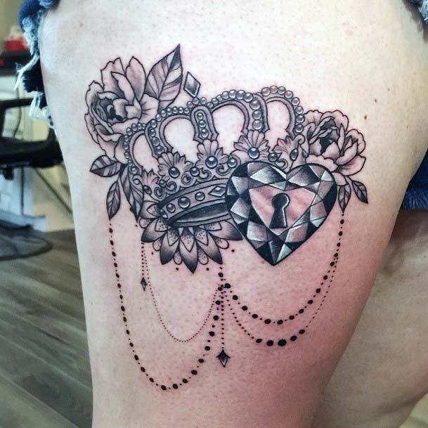 Crown With Keyed Heart And Flowers Womens Thighs