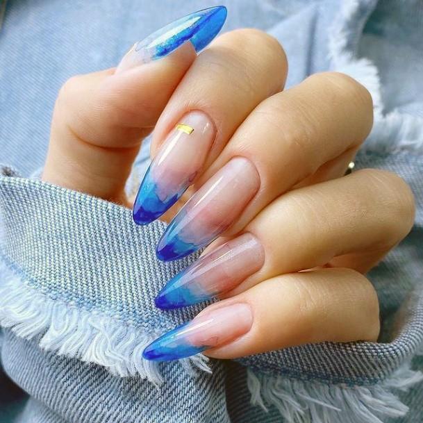 Crystal Clear Blue Water Nails Women Long Art