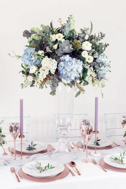 Crystal Vase With Hydrangea Wedding Flowers