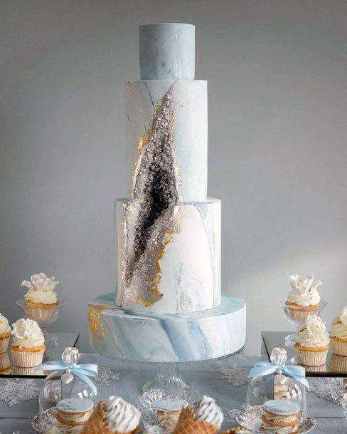 Crystal Wedding Cake Blue And White