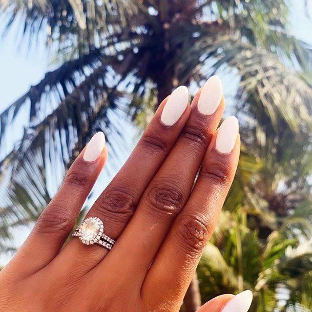 Crystal White Gel Nails Women