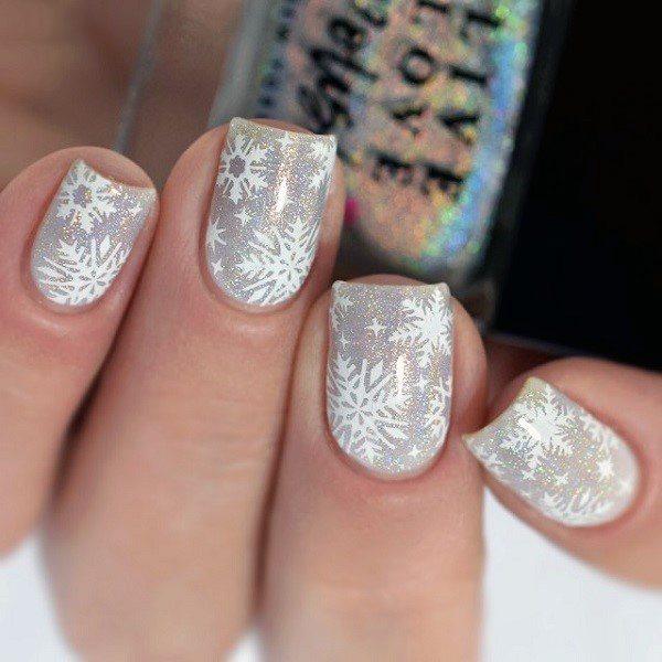 Crystalline Shiny White Snow Flake Design On Nails Women