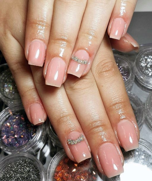Crystallized Pink Shellac Nails For Women