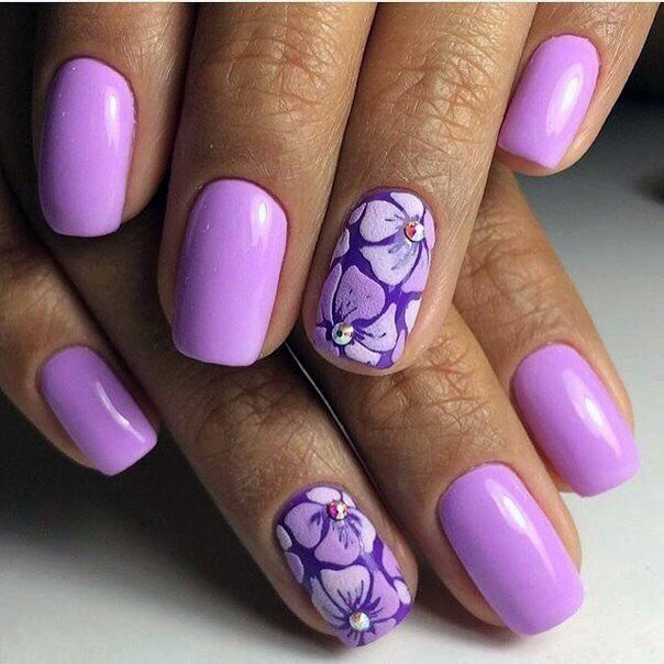 Crystals On Purple Orchid Nails