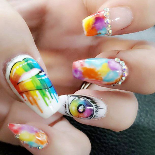Crystals On Rainbow Colorful Nail Ideas For Women