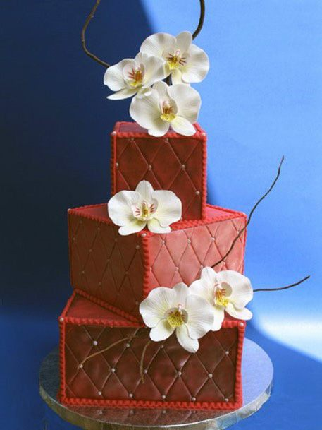 Cube Shaped Red Velvet Wedding Cake