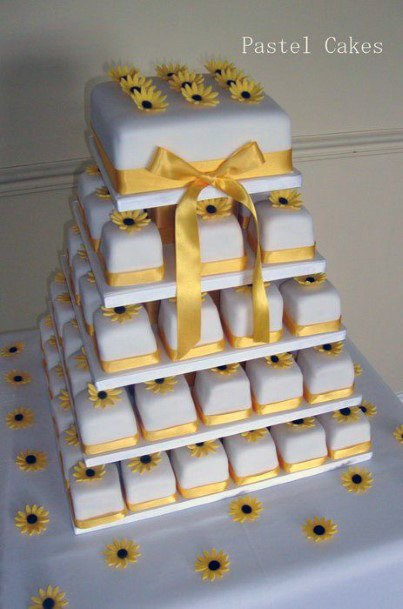 Cubical Art Sunflower Wedding Cakes Women