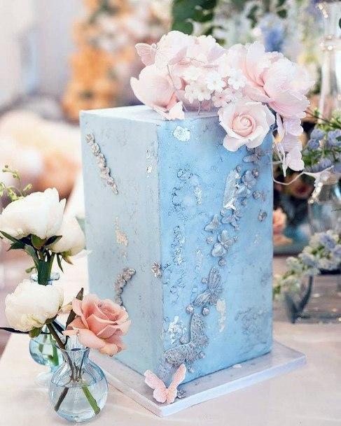 Cubical Blue Wedding Cake