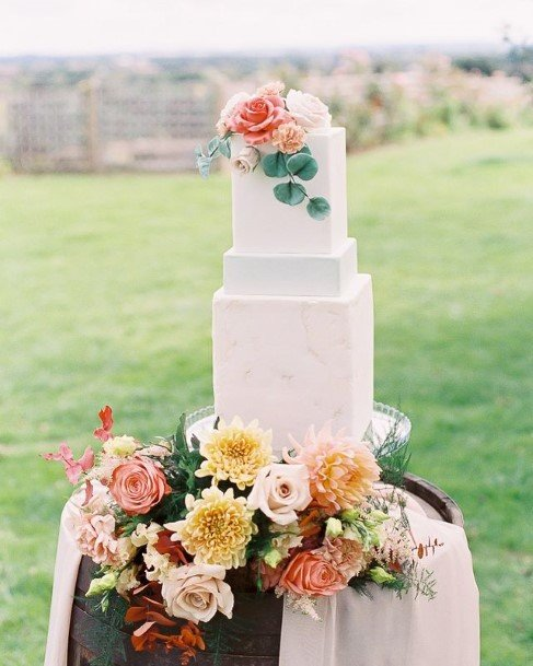 Cubical Marble White Wedding Cake Beautiful