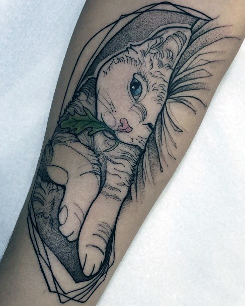 Cuddly Cat Tattoo For Women