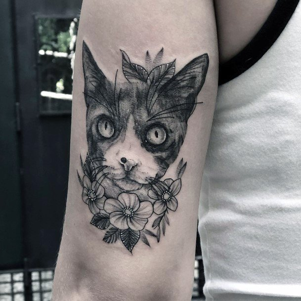 Curious Cat With Flowers Tattoo For Women Arms