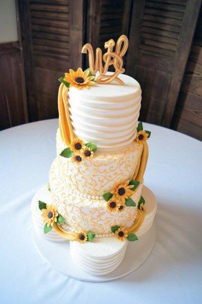 Curtains Of Sunflower On Womens Wedding Cake