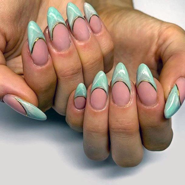 Curved Tip Mint Nails Women