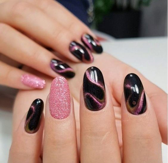 Curvy Art On Dark Red Cat Eye Nails