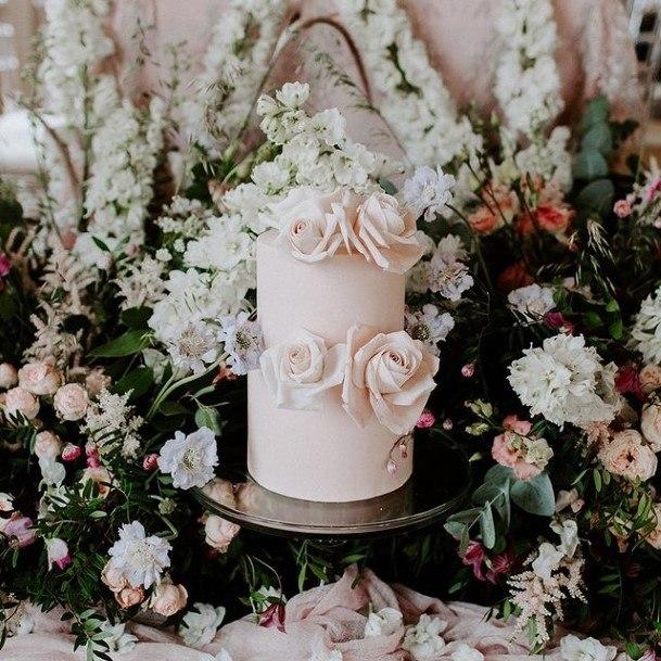 Cute 2 Tier Rose Wedding Cake