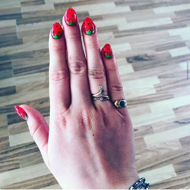 Cute Adorable Red Strawberry Nails For Girls
