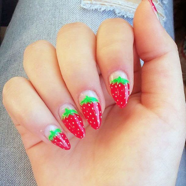 Cute Almond Strawberry Nail Ideas For Girls