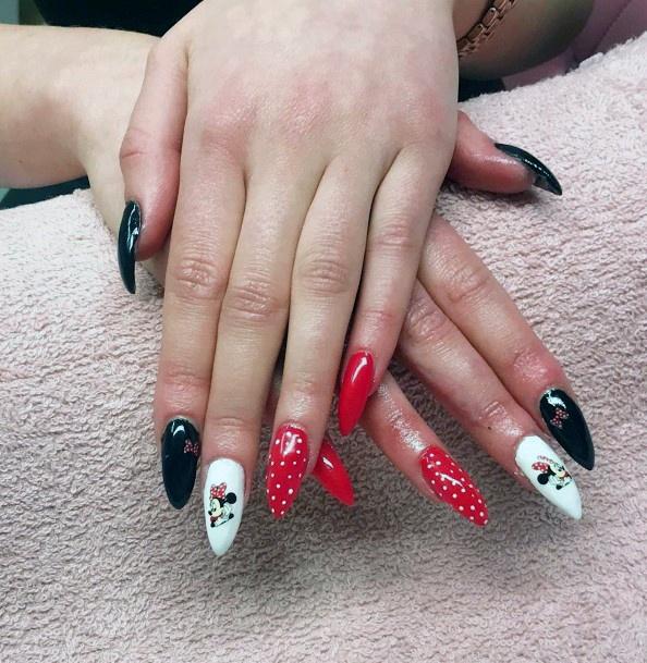 Cute Black Red Mickey Minnie Nails Women