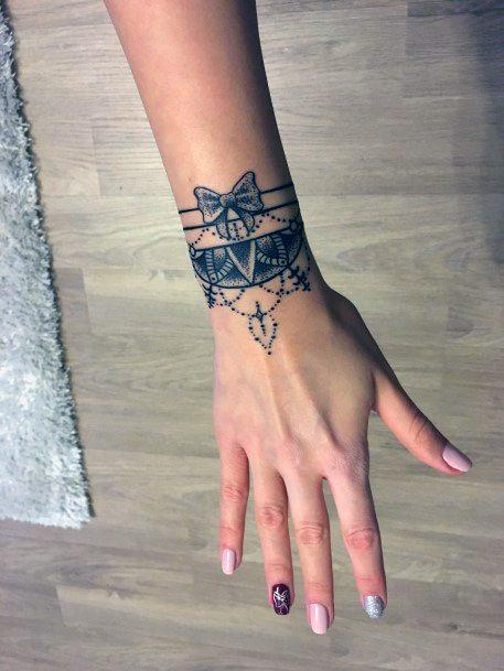 Cute Bowtied Art Womens Wrist Tattoo