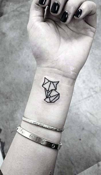 Cute Cat Origami Geometric Tattoo Women