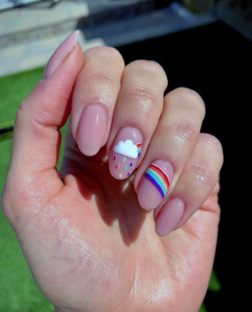 Cute Cloud And Rainbows On Natural Nail Ideas For Women
