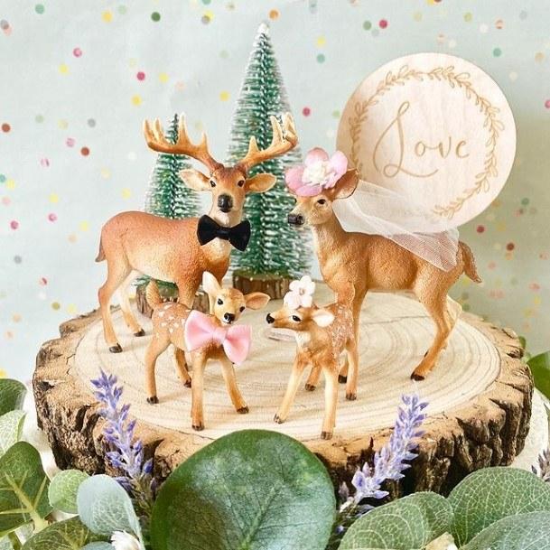 Cute Deer Family Rustic Wedding Cake Toppers