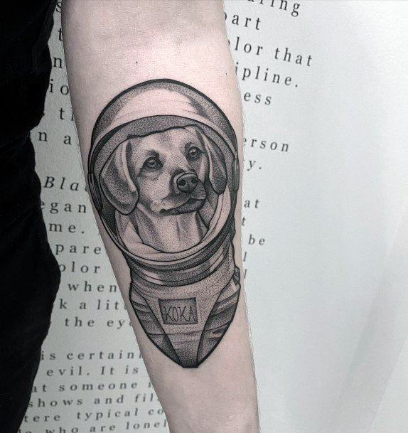 Cute Dog In Space Tattoo For Women Astronaut