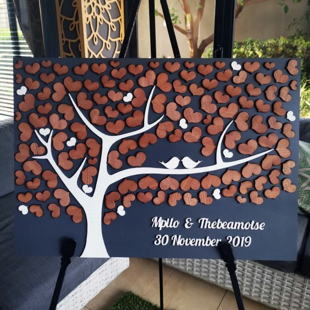 Cute Family Tree Wooden Pieces Wedding Guest Book Ideas
