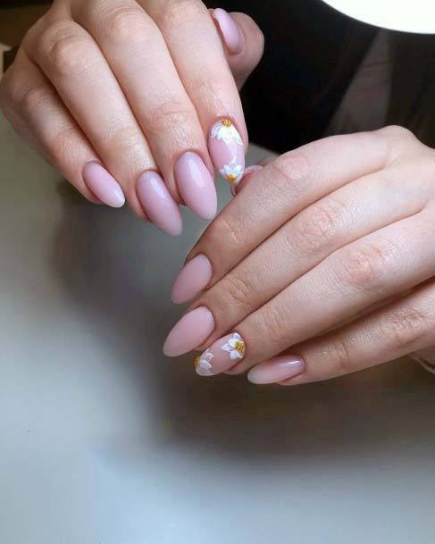 Cute Flower On Light Pink Nails