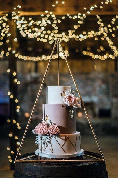 Cute Geometric Design Pink And Gold Wedding Cake Ideas