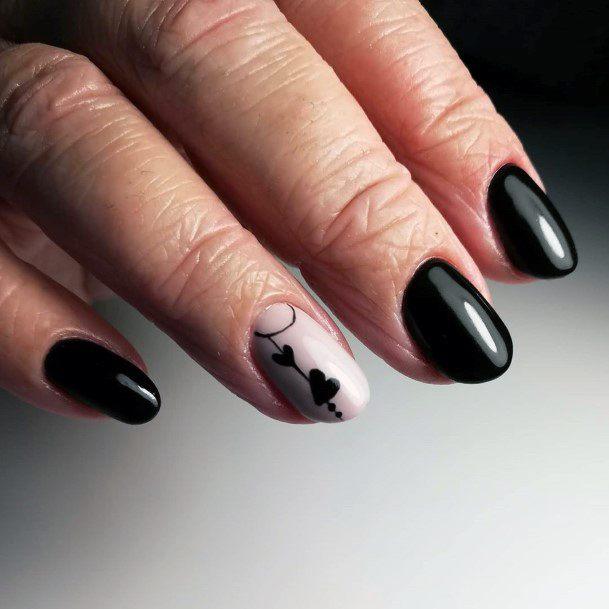 Cute Heart Design On Black Nails Women