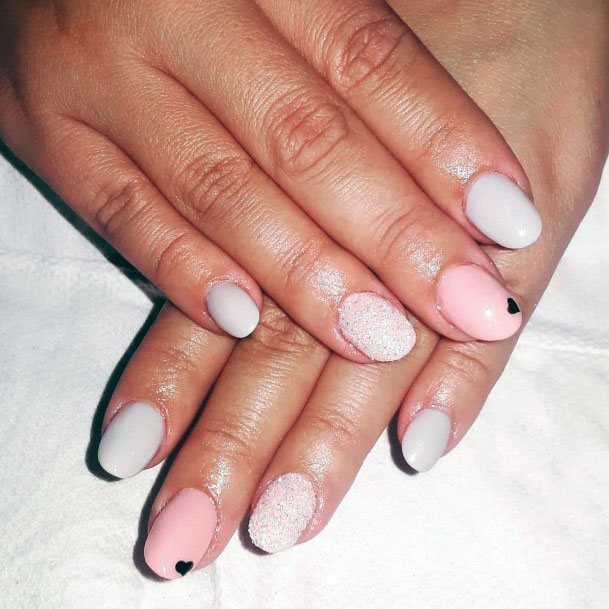 Cute Heart On Pinkish White Sugar Nails Women