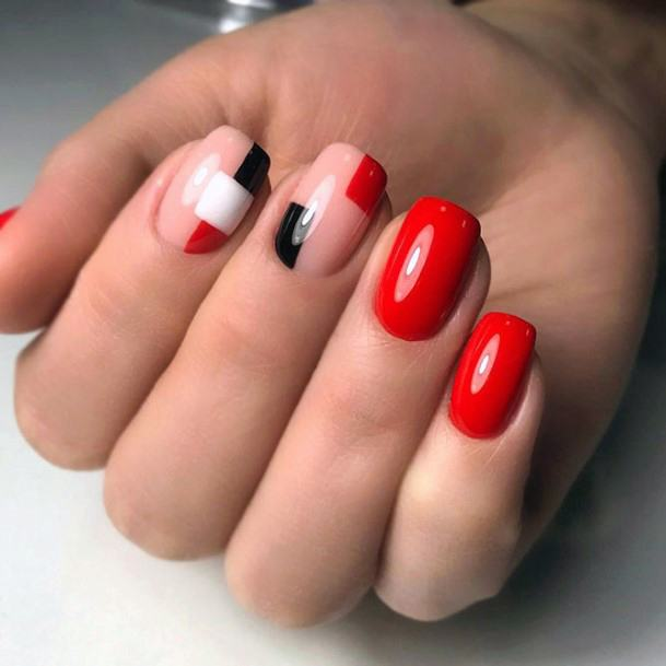 Cute Nail Designs For Short Nails Red Geometric For Women