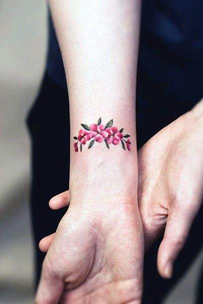 Cute Pink Floral Tattoo Womens Wrist