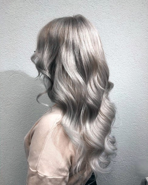 Cute Silver Mid Length Glossy Hairstyle For Women And Girls