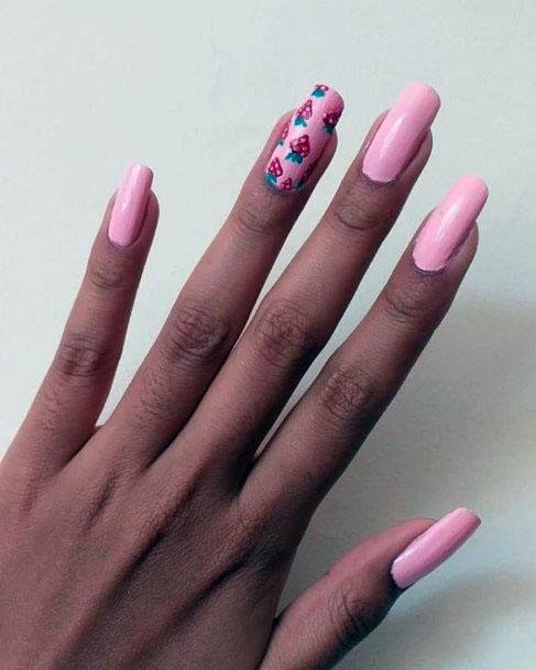 Cute Simple Pink Strawberry Nail Design For Girls