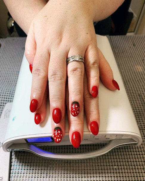 Cute Simple Red Strawberry Nails For Women