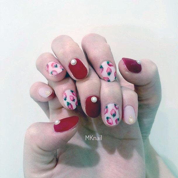 Cute Simple Short Red Pink Strawberry Nail Inspiration For Women