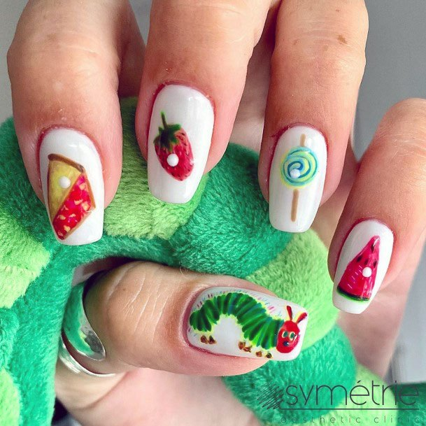 Cute Sweet Caterpillar Cake Lollipop Watermelon Strawberry Nail Design For Girls