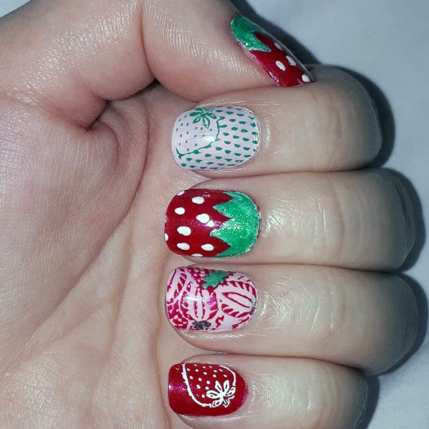 Cute Sweet Strawberry Design For Girls Nails