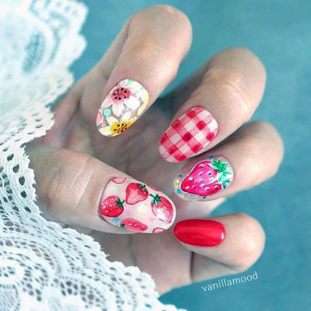 Cute Trendy Pink Red And White Strawberry Checkered Flannel Nail Design For Ladies