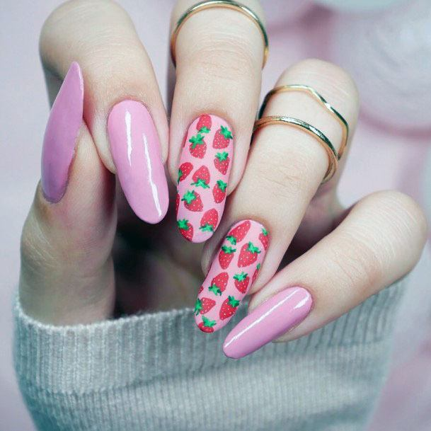 Cute Trendy Pink Strawberry Nail Design For Girls