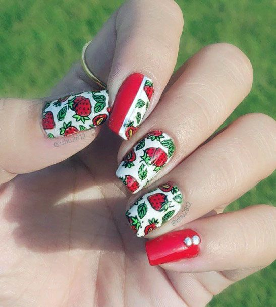 Cute Trendy Red And White Strawberry Nail Art For Ladies
