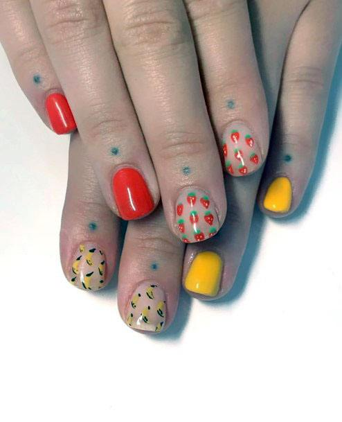 Cute Trendy Red And Yellow Strawberry Inspirational Nail Design For Girls