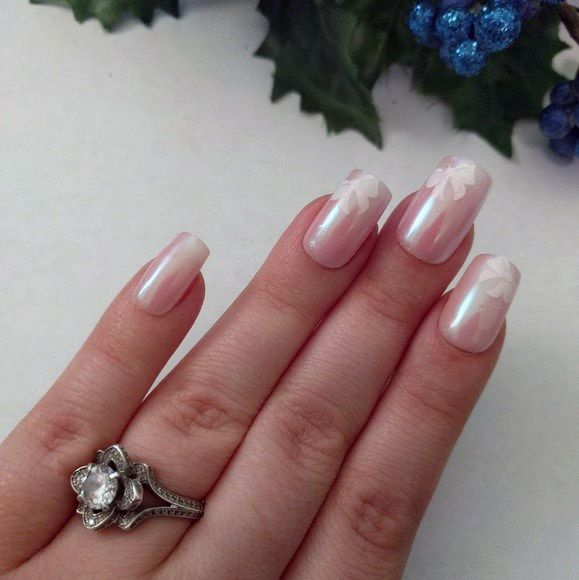 Cute White Bow Iridescent Nails Women