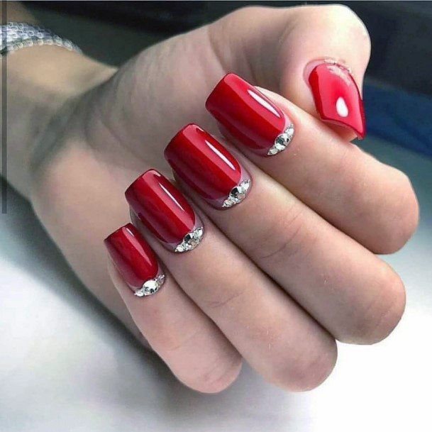Cuticle Crystal And Bright Red Nails For Women