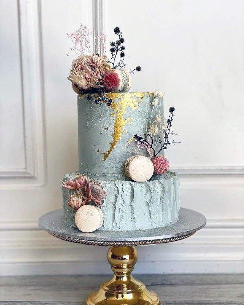Dainty Blue Wedding Cake